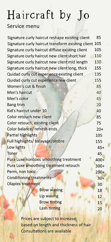 haircraft by Jo service menu + prices se