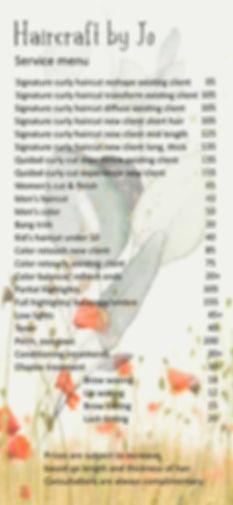 haircraft by Jo service menu + prices Ju