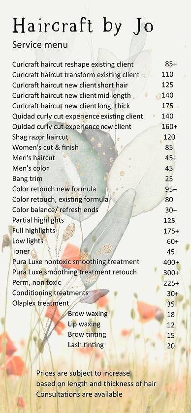 haircraft by Jo service menu + prices Ma