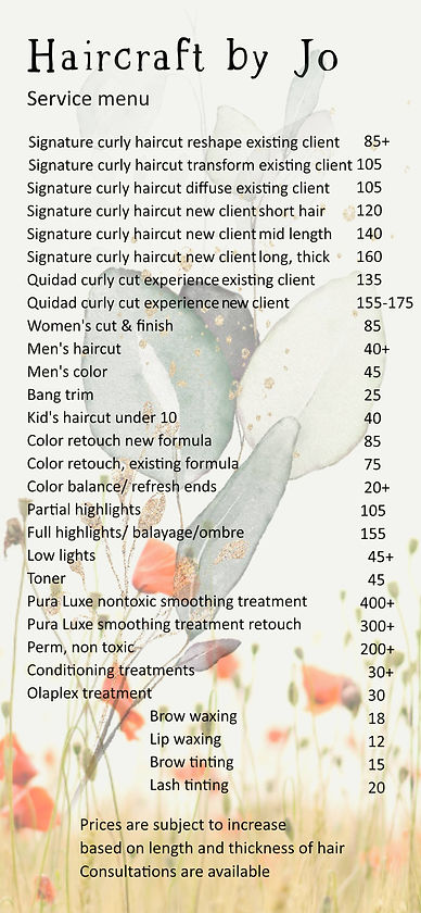 haircraft by Jo service menu + prices Fe