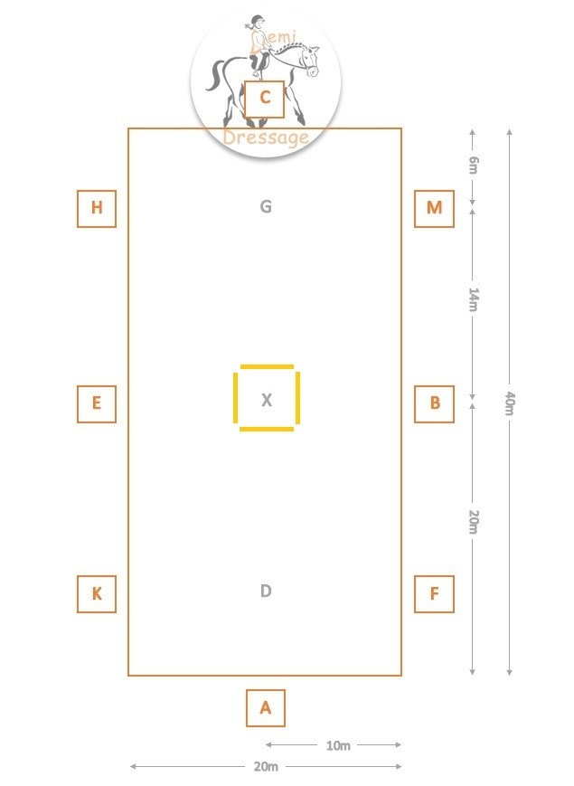 Demi Dressage arena diagram with four poles around X