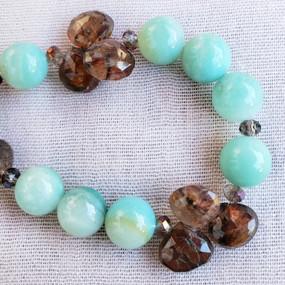 Detail, Smokey Topaz and Amazonite Necklace