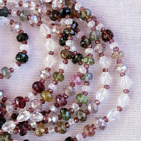 Detail - Long Tourmaline and Crystal Necklace