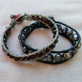 Leather and Garnet and Pearl Bracelets