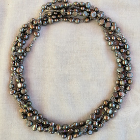 Long, Double-Strand Grey Pearl Necklace