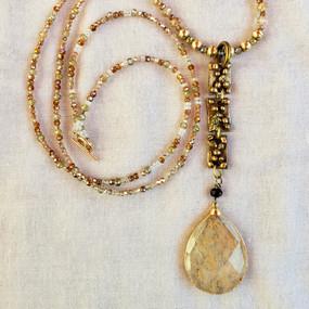 Extra Long Golden Pendant Necklace