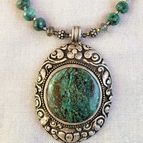 Tibetian Silver and Turquoise Pendant/Necklace
