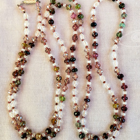 Extra Long Tourmaline and Crystal Necklace