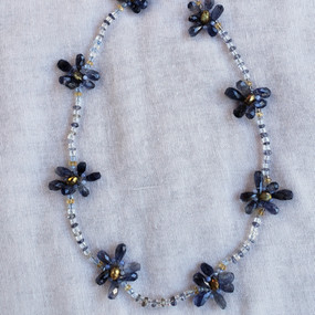 Blue Daisy Chain Necklace
