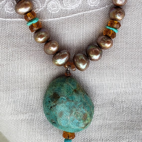 Golden Pearls and Turquoise Necklace