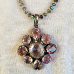 Large Amethyst Pendant on a Labradorite Necklace