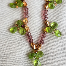 Peridot Trefoils and Violet Crystal Necklace
