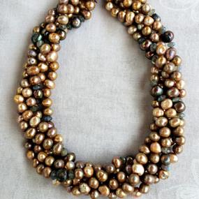 Swirls of Golden Pearls Necklace