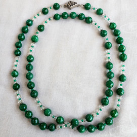 Long Jade and Crystal Necklace