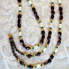 Gold, Garnets and Pearls - Long Necklace