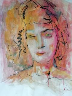 Portrait encre et pastel