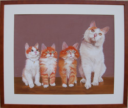 176 - Famille Chats - Pastel - 40x30