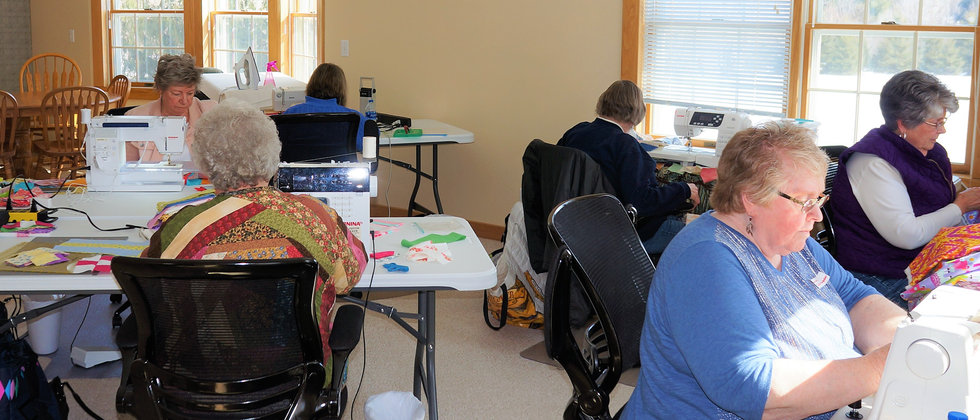 Quilters working on projects