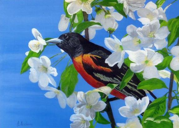 Oiseau dans fruitier en fleur