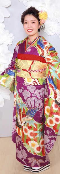 225紫緑 笹と鶴