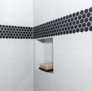 Black Hexagonal Small Tile for Shower Accent
