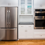 close up ssrefrigerator and double oven