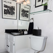 Mod Sophisticated Black and White Small Bathroom