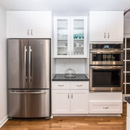 ss refrigerator and double oven on same