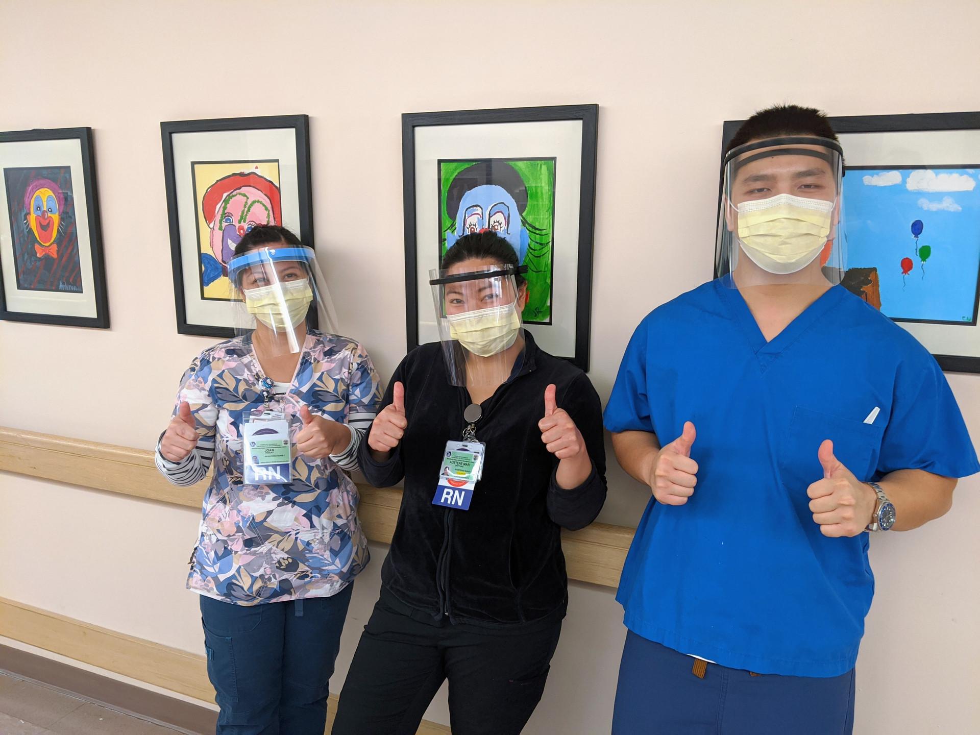 Rancho nurses wearing our shields