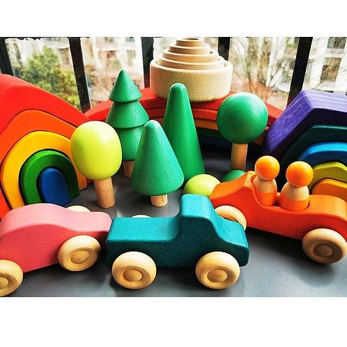 Wood Blocks - Nature and Transportation