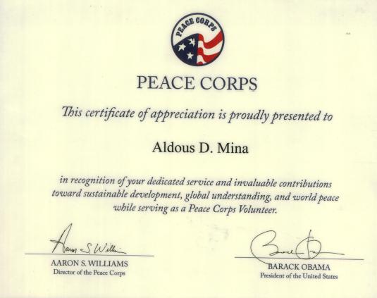 Peace Corps Certificate of Service