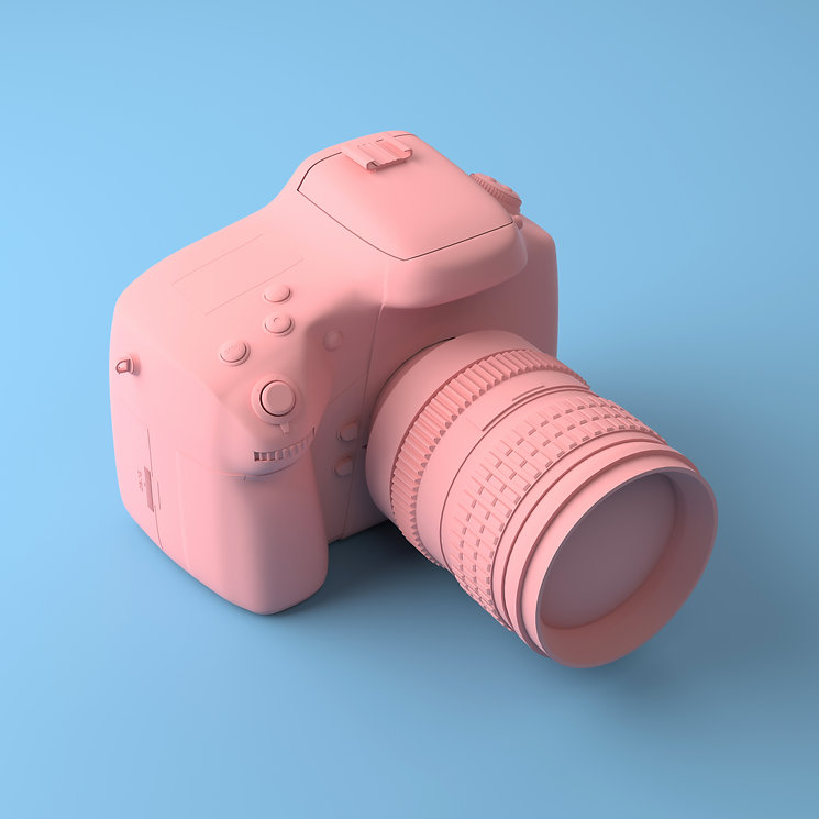 cool-professional-camera-on-blue-background-all-painted-in-one-fashionable-pink-and-pastel