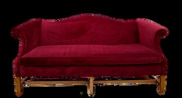 Charles: Burgundy Velvet Vintage Sofa
