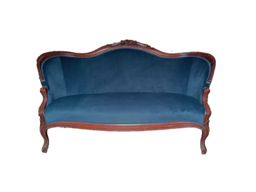 Bismarck Settee: Dark Blue Velvet