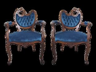 Bismarck Chairs: Dark Navy/Teal Velvet