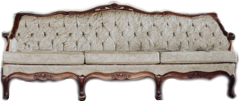 Dusty Miller: Dusty Green Satin Vintage Sofa (hints of pink and cream)