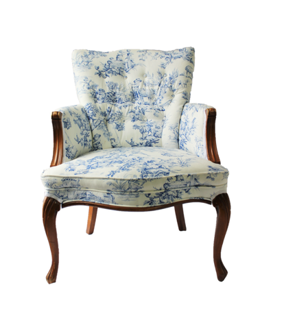 Lucie: White and Blue Toile Chair