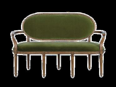 Fern Settee (Table Height): Olive Green Velvet $200
