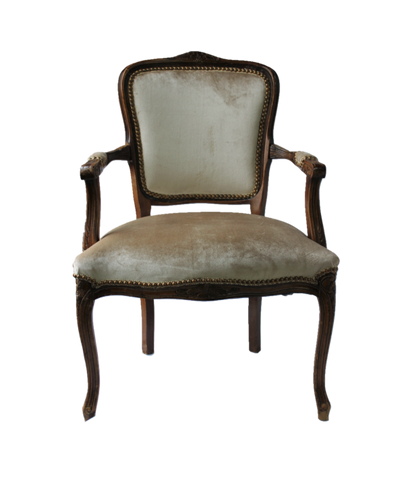 Leila Chairs: Champagne velvet with nail head trim
