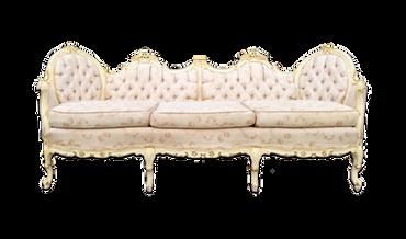 Trudie: Ivory, Taupe and Pink Brocade Vintage Sofa