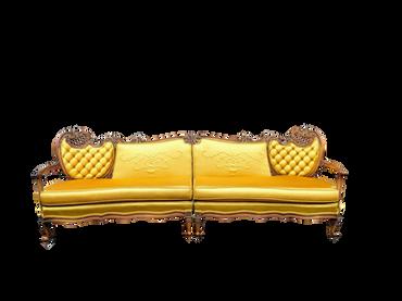 Goldie Hawn: Yellow/Mustard Silk 2 Piece Vintage Sofa