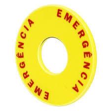 Sinalização plástica de energência para botão 22mm