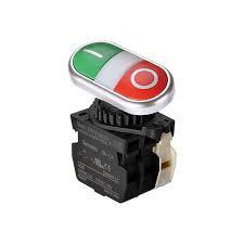 Botão duplo cromado  iluminado verde / vermelho 1NA / 1NF plástic 24Vca
