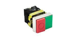 Botão de comando metálico duplo saliente verde/vermelho