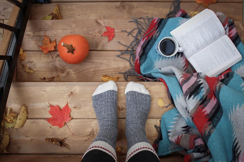 woollen socks coffee book