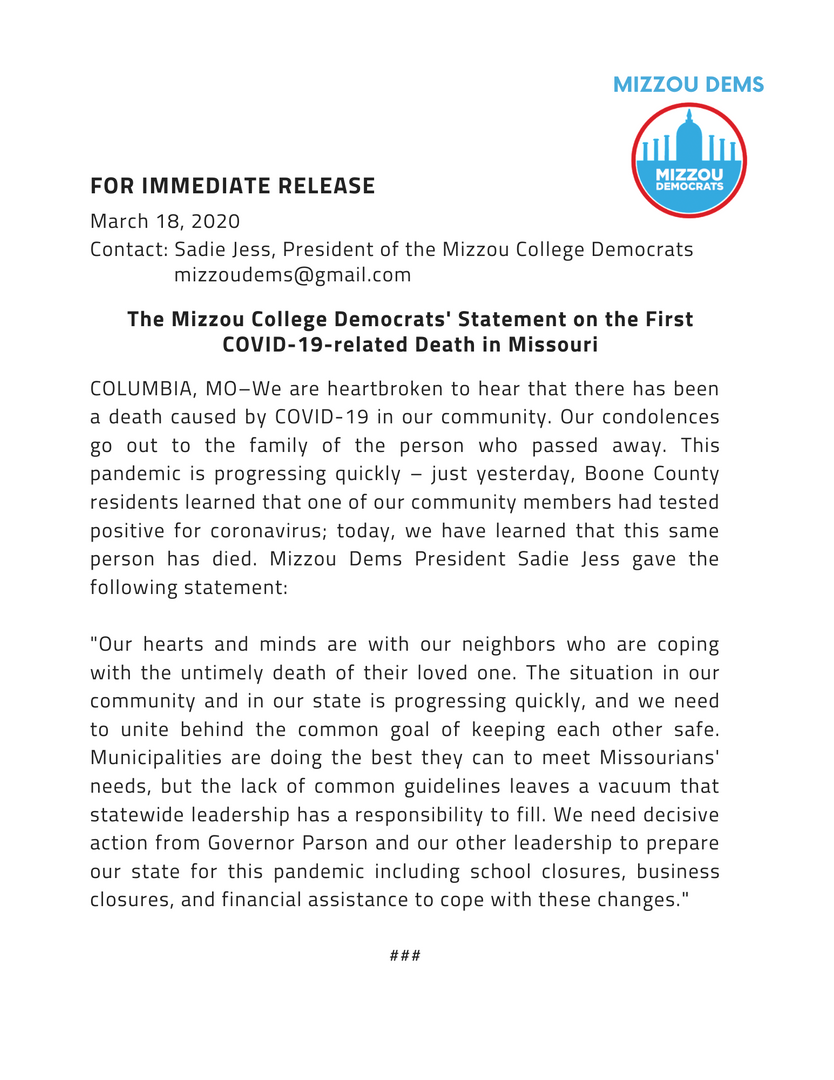 Mizzou College Democrats' Statement on the First COVID-19-related Death in Missouri