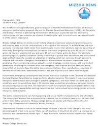 Letter of Support for Planned Parenthood Advocates' Emergency Contraceptive Initiative