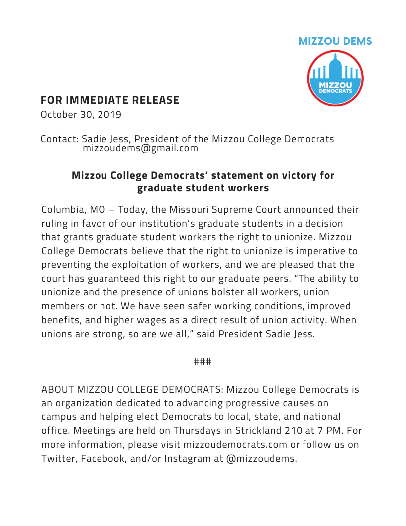 Mizzou College Democrats' Statement on the victory for graduate student workers
