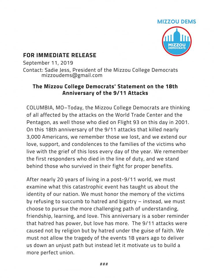 Mizzou College Democrats' Statement on the 18th Anniversary of the 9/11 Attacks
