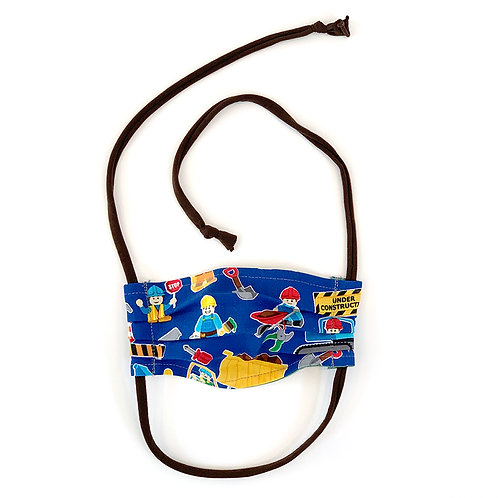 Kids Lego Construction Pleated Face Mask